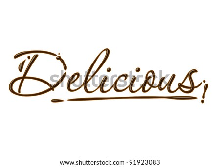 delicious text made of chocolate vector design element. - stock vector