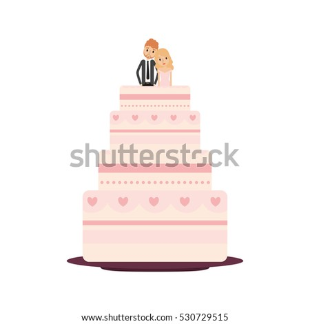 Delicious wedding cake with couple vector illustration design