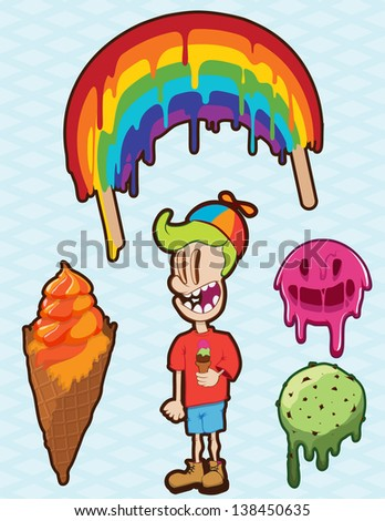 Deliciously rich illustrations of ice cream cones, scoops and popsicles with a boy character eating some ice cream - stock vector