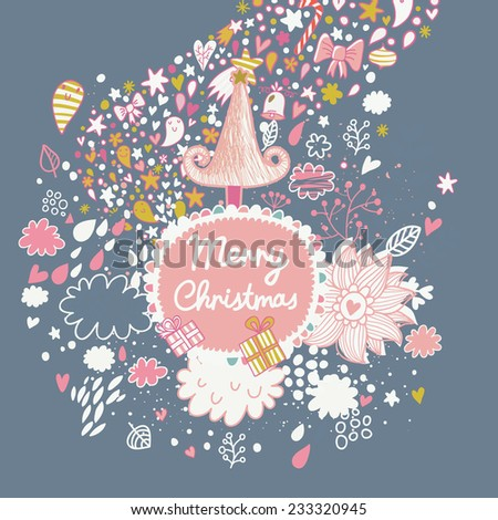 Delightful vintage merry christmas card with tree, stars, clouds and flowers. Vector holiday background. Happy new year invitation card design - stock vector