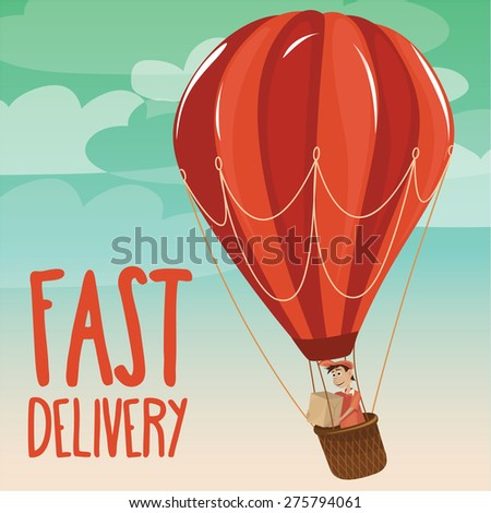Delivering of post by hot air balloon - Vector Illustration - stock vector