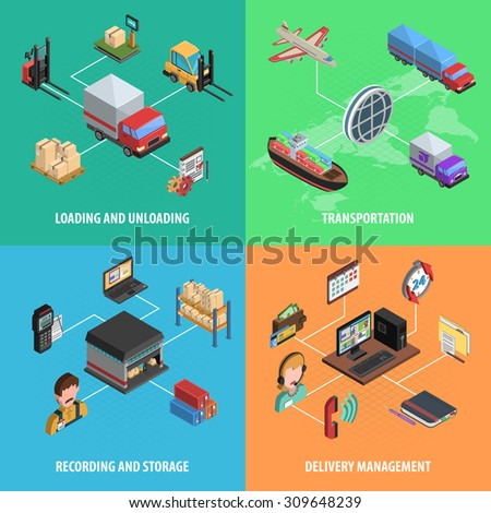 Delivery and logistic square isometric icon set with loading transportation store and delivery management vector illustration - stock vector