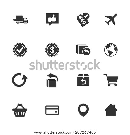 Delivery and shopping icons, black silhouette on the white background - stock vector