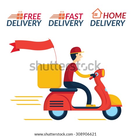Delivery Boy Ride Scooter Motorcycle Service, Order, Worldwide Shipping, Fast and Free Transport - stock vector
