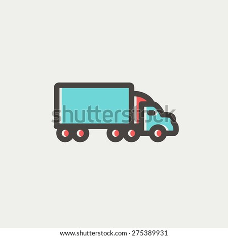 Delivery car icon thin line for web and mobile, modern minimalistic flat design. Vector icon with dark grey outline and offset colour on light grey background. - stock vector