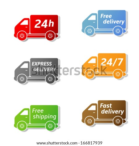 Delivery car, shipping vector icons set - stock vector