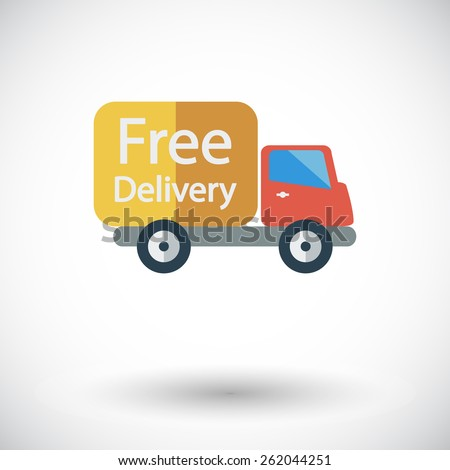 Delivery Car. Single flat icon on white background. Vector illustration.