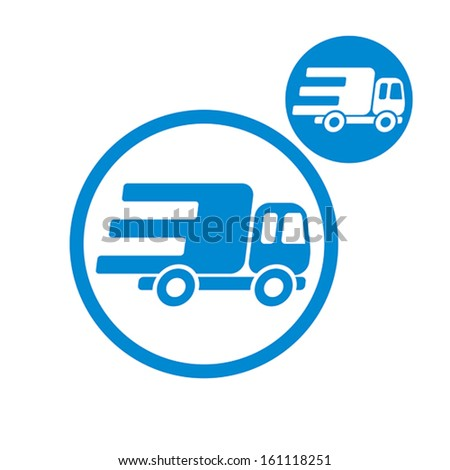 Delivery car small truck vector simple single color icon isolated on white background, includes invert version for you to choose. - stock vector