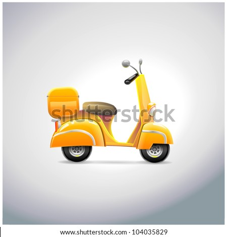 Delivery cartoon scooter with big orange box - stock vector