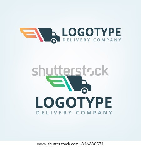 Delivery company logo. Wings logotype. Delivery car. - stock vector