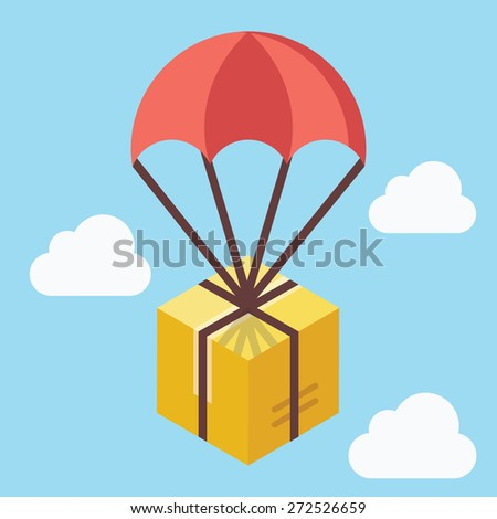 Delivery concept. Brown box floating in blue sky with parachute. Creative flat design. Colorful vector illustration. Blue background - stock vector