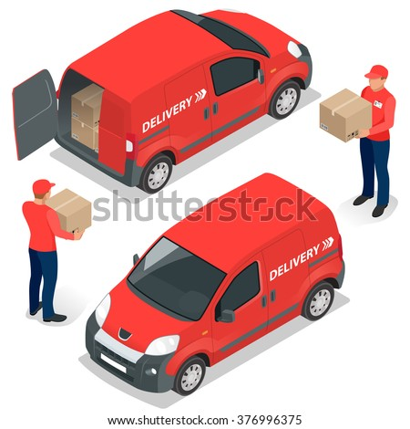 Delivery Concept, Express Delivery, delivery man. Flat 3d vector isometric illustration - stock vector