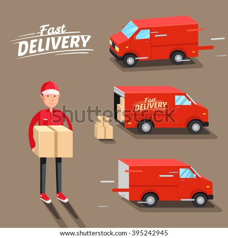 Delivery Concept. Fast delivery van. Delivery man. Vector illustration - stock vector