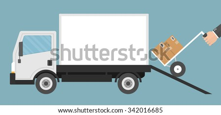 Delivery concept. Hand pushing hand cart or dolly in to a truck storage through a ramp. Flat style