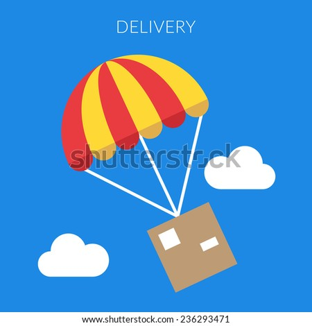 Delivery concept. Vector illustration of a box and parachute in flat design - stock vector