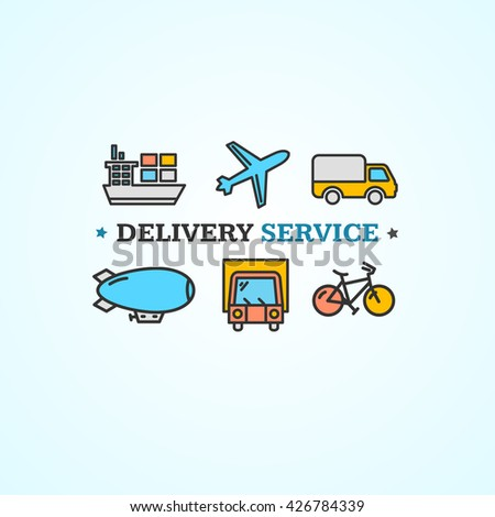Delivery Concept with Transport Colorful Icons. Vector illustration