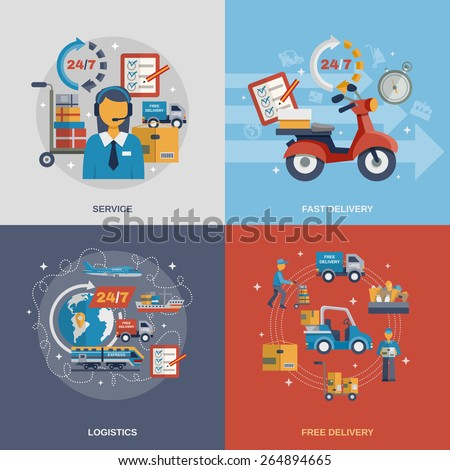 Delivery design concept set with fast free logistic service flat icons isolated vector illustration - stock vector