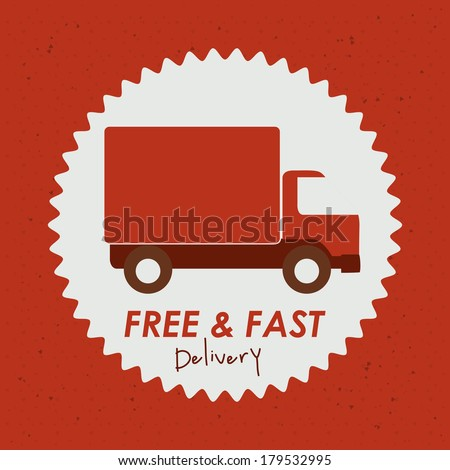 delivery design over  red background vector illustration - stock vector