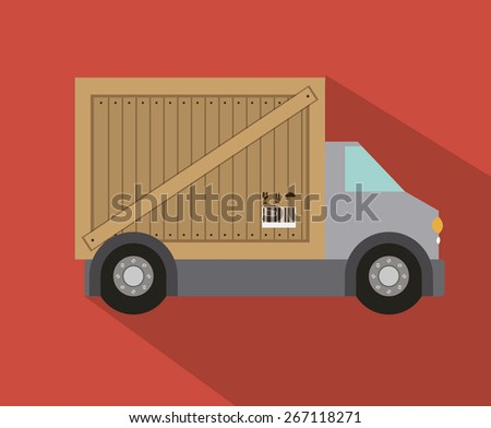 Delivery design over red background, vector illustration - stock vector