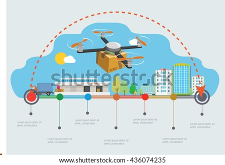 Delivery drone with the package over town. Infographic illustration. - stock vector