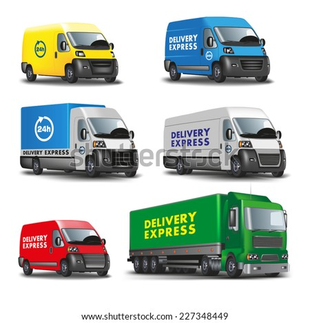 Delivery express. Set of delivery cars. Vector illustration - stock vector