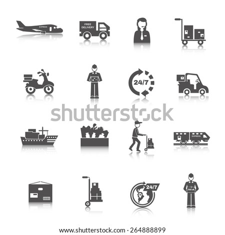 Delivery freight and transportation logistics icons black set isolated vector illustration