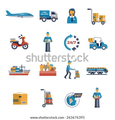 Delivery freight shipping logistic and transportation icons flat set isolated vector illustration - stock vector