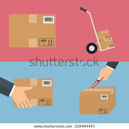 Delivery icon set. Flat style - stock vector
