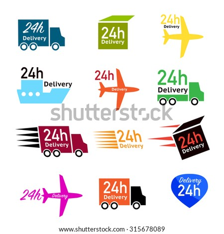 Delivery icon set or collection in vector 24 hours - stock vector