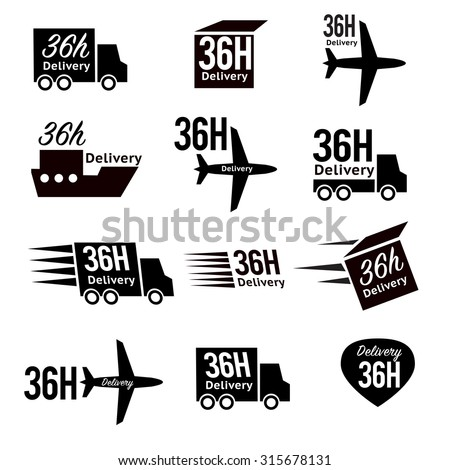 Delivery icon set or collection in vector 36 hours - stock vector