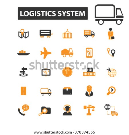 delivery icons, delivery logo, logistics icons vector, logistics flat illustration concept, logistics infographics elements isolated on white background, logistics logo, logistics symbols set, cargo - stock vector