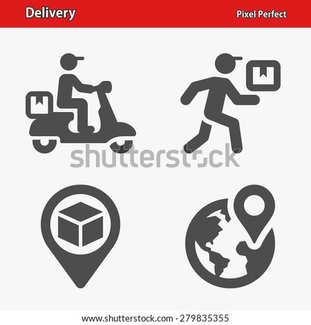 Delivery Icons. Professional, pixel perfect icons optimized for both large and small resolutions. EPS 8 format. Designed at 32 x 32 pixels. - stock vector