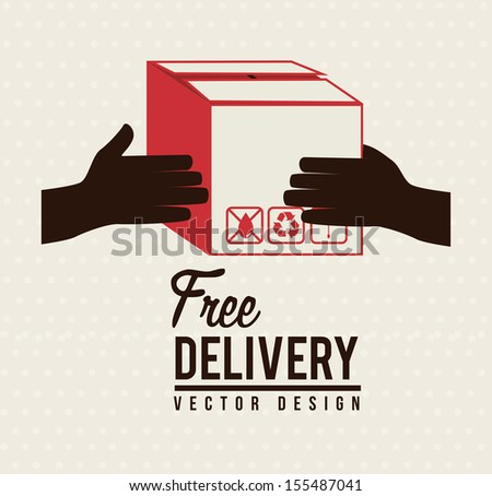 Delivery icons with box over lines background vector illustration - stock vector