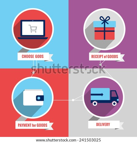 Delivery logistic freight service infographic set with choose goods receipt payment delivery isolated vector illustration - stock vector
