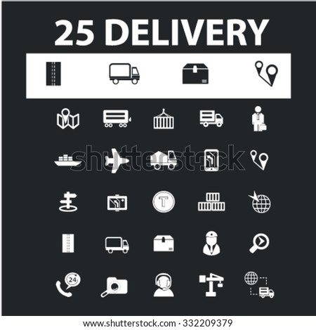 delivery, logistics icons, signs concept vector set for website, mobile, infographics - stock vector