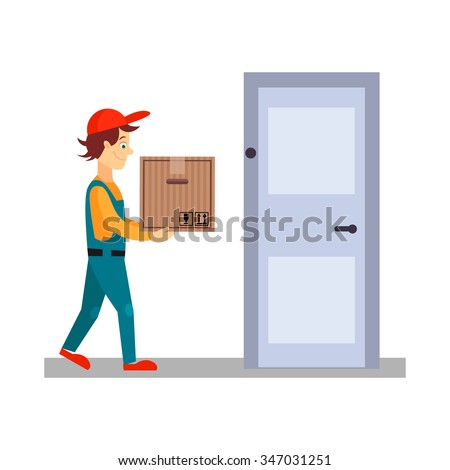 Delivery Man at Door with a Box, Flat Vector Illustration  - stock vector