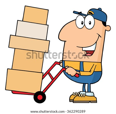 Delivery Man Cartoon Character Using A Dolly To Move Boxes. Vector Illustration With Isolated On White - stock vector