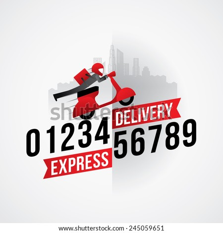 Delivery man courier service with call number icon - stock vector