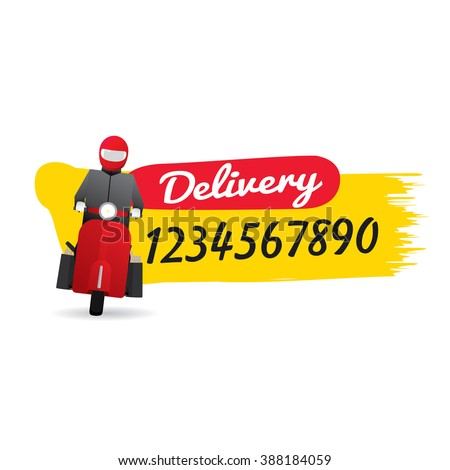 Delivery man courier service with call number icon. Vector illustration - stock vector