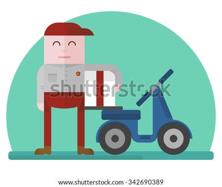 Delivery man holding a box near a blue scooter. Concept for delivery service.Flat design colored vector illustration.  - stock vector