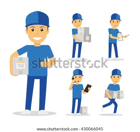Delivery man in blue uniform holding boxes and documents in different poses. Vector illustration - stock vector