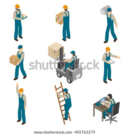 Delivery man in uniform at work carrying boxes and operating forklift isometric icons collection abstract isolated vector illustration - stock vector