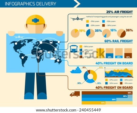 Delivery man infographics flat set with courier merchandise elements charts and world map vector illustration - stock vector