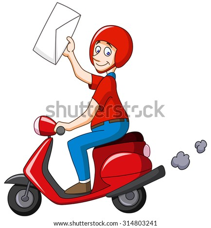 Delivery man on scooter holding an envelope - stock vector