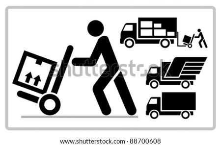 Delivery man pushing a cargo hand truck, vector icon. - stock vector