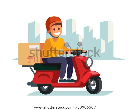 Delivery man riding red motor bike. Flat illustration