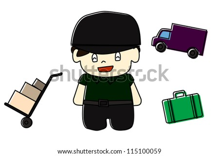 delivery man smiling - stock vector