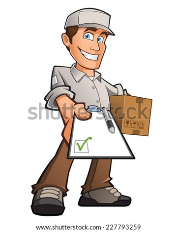 Delivery man with a box in his hands - stock vector
