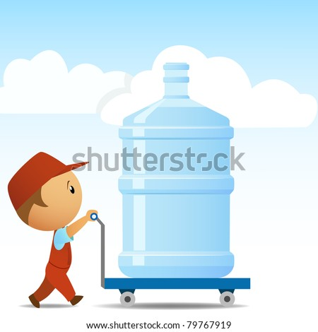 Delivery man with big bottle of water on background. Vector illustration. - stock vector