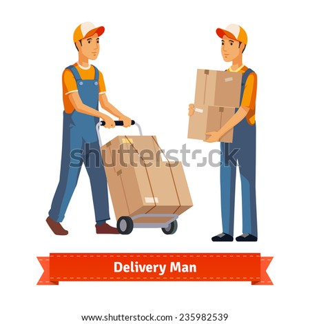 Delivery man with boxes and two weel cart. Flat style illustration. EPS 10 vector. - stock vector